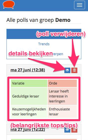 Klik op het oog-icoon voor details deze poll